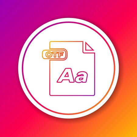 Color line OTF file document. Download otf button icon isolated on color background. OTF file symbol. Circle white button. Vector Illustration