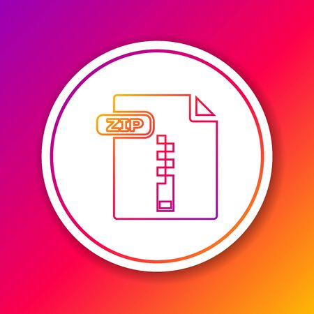 Color line ZIP file document. Download zip button icon isolated on color background. ZIP file symbol. Circle white button. Vector Illustration Çizim