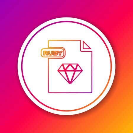 Color line RUBY file document. Download ruby button icon isolated on color background. RUBY file symbol. Circle white button. Vector Illustration