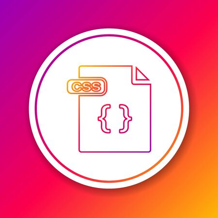 Color line CSS file document. Download css button icon isolated on color background. CSS file symbol. Circle white button. Vector Illustration