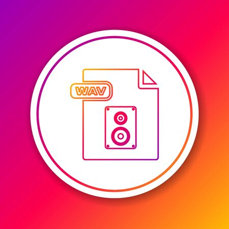 Color line WAV file document. Download wav button icon isolated on color background. WAV waveform audio file format for digital audio riff files. Circle white button. Vector Illustration