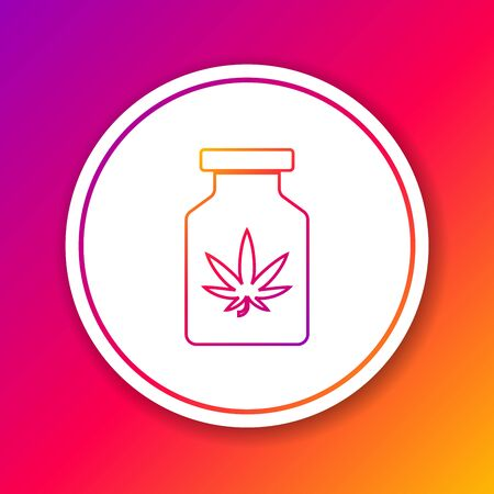 Color line Medical bottle with marijuana or cannabis leaf icon isolated on color background. Mock up of cannabis oil extracts in jars. Circle white button. Vector Illustration Stock Illustratie