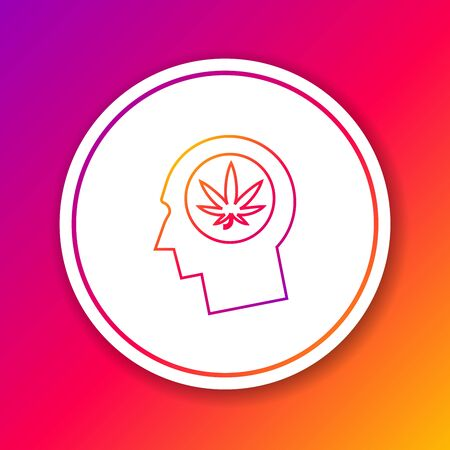 Color line Silhouette of male head in profile with marijuana or cannabis leaf icon isolated on color background. Marijuana legalization. Hemp symbol. Circle white button. Vector Illustration
