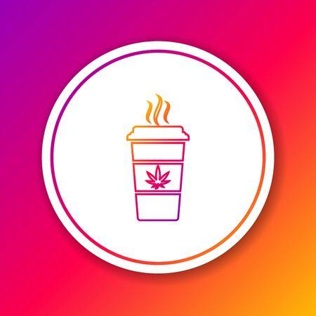 Color line Cup coffee with marijuana or cannabis leaf icon isolated on color background. Marijuana legalization. Hemp symbol. Circle white button. Vector Illustration Ilustração