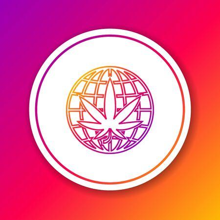 Color line Legalize marijuana or cannabis globe symbol icon isolated on color background. Hemp symbol. Circle white button. Vector Illustration
