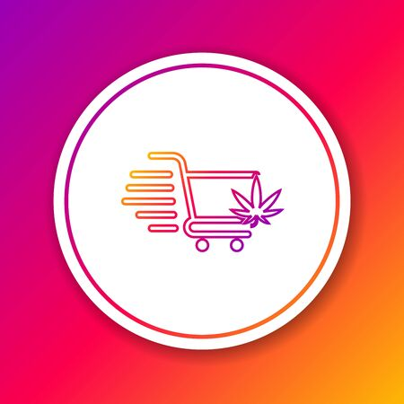 Color line Shopping cart with marijuana or cannabis leaf icon isolated on color background. Online buying. Delivery service. Supermarket basket. Circle white button. Vector Illustration Banco de Imagens - 130741601