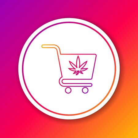 Color line Shopping cart with marijuana or cannabis leaf icon isolated on color background. Online buying. Delivery service. Supermarket basket. Circle white button. Vector Illustration