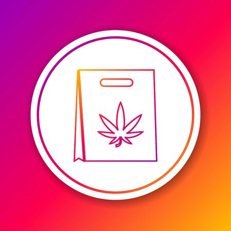 Color line Shopping paper bag of medical marijuana or cannabis leaf icon isolated on color background. Buying cannabis. Hemp symbol. Circle white button. Vector Illustration