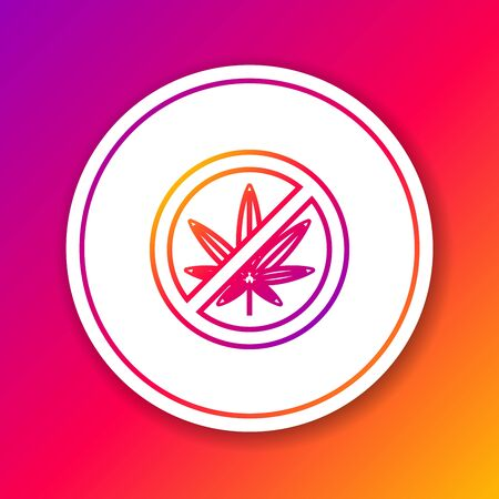 Color line Stop marijuana or cannabis leaf icon isolated on color background. No smoking marijuana. Hemp symbol. Circle white button. Vector Illustration