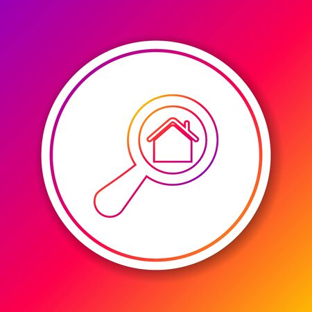 Color line Search house icon isolated on color background. Real estate symbol of a house under magnifying glass. Circle white button. Vector Illustration Çizim