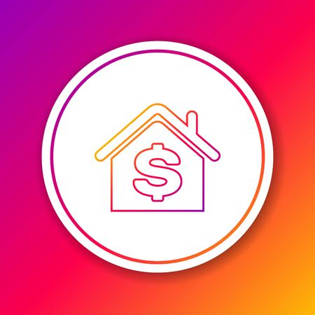 Color line House with dollar symbol icon isolated on color background. Home and money. Real estate concept. Circle white button. Vector Illustration