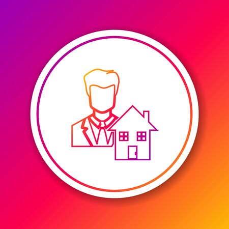 Color line Realtor icon isolated on color background. Buying house. Circle white button. Vector Illustration