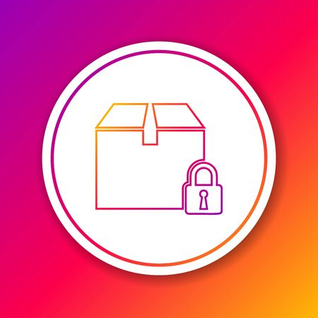 Color line Locked package icon isolated on color background. Lock and cardboard box. Circle white button. Vector Illustration Çizim