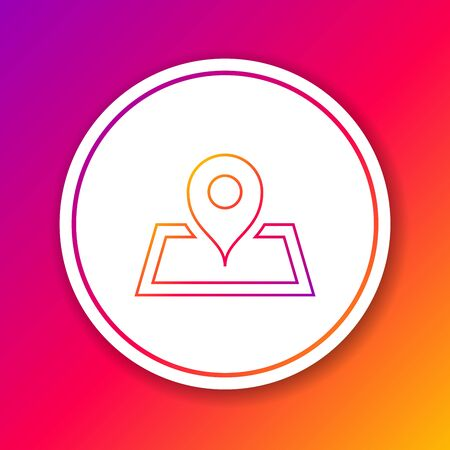 Color line Placeholder on map paper in perspective icon isolated on color background. Circle white button. Vector Illustration