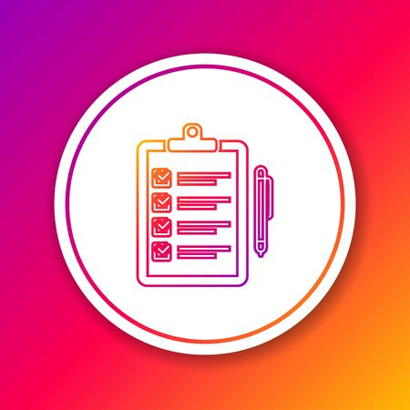 Color line Verification of delivery list clipboard and pen icon isolated on color background. Circle white button. Vector Illustration