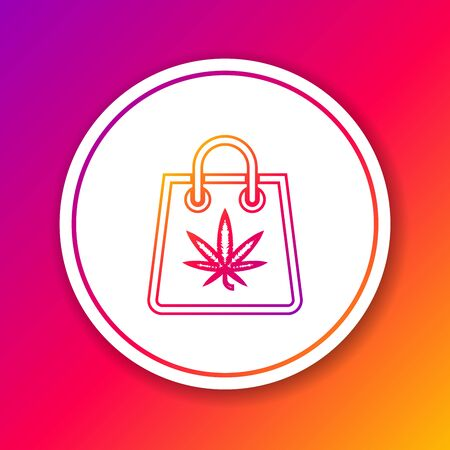 Color line Shopping paper bag of medical marijuana or cannabis leaf icon isolated on color background. Buying cannabis. Hemp symbol. Circle white button. Vector Illustration Banco de Imagens - 130742354