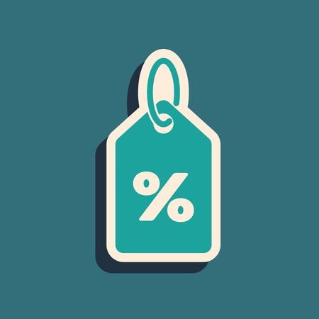 Green Discount percent tag icon isolated on blue background. Shopping tag sign. Special offer sign. Discount coupons symbol. Long shadow style. Vector Illustration Çizim