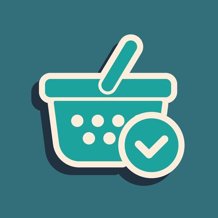 Green Shopping basket with check mark icon isolated on blue background. Supermarket basket with approved, confirm, tick, completed symbol. Long shadow style. Vector Illustration