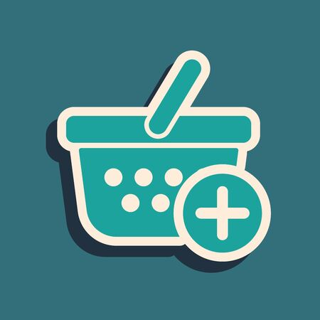 Green Add to Shopping basket icon isolated on blue background. Online buying concept. Delivery service sign. Supermarket basket symbol. Long shadow style. Vector Illustration