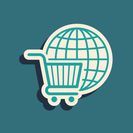 Green Shopping cart with globe icon isolated on blue background. Online buying concept. Global market concept. Supermarket basket symbol. Long shadow style. Vector Illustration Ilustração