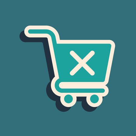Green Remove shopping cart icon isolated on blue background. Online buying concept. Delivery service sign. Supermarket basket and X mark. Long shadow style. Vector Illustration