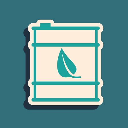 Green Bio fuel barrel line icon isolated on blue background. Eco bio and canister. Green environment and recycle. Long shadow style. Vector Illustration