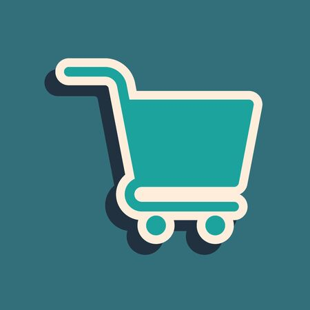 Green Shopping cart icon isolated on blue background. Online buying concept. Delivery service sign. Supermarket basket symbol. Long shadow style. Vector Illustration
