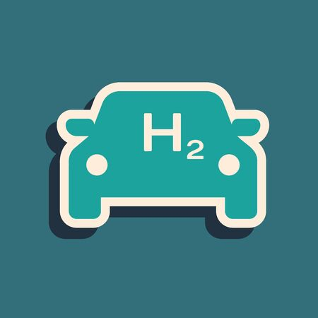 Green Hydrogen car icon isolated on blue background. H2 station sign. Hydrogen fuel cell car eco environment friendly zero emission. Long shadow style. Vector Illustration