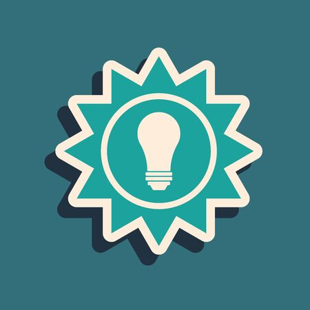 Green Solar energy panel icon isolated on blue background. Sun and light bulb. Long shadow style. Vector Illustration Ilustracja