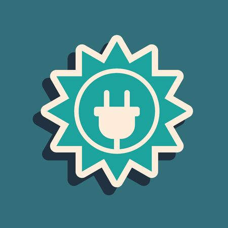 Green Solar energy panel icon isolated on blue background. Sun and electric plug. Long shadow style. Vector Illustration