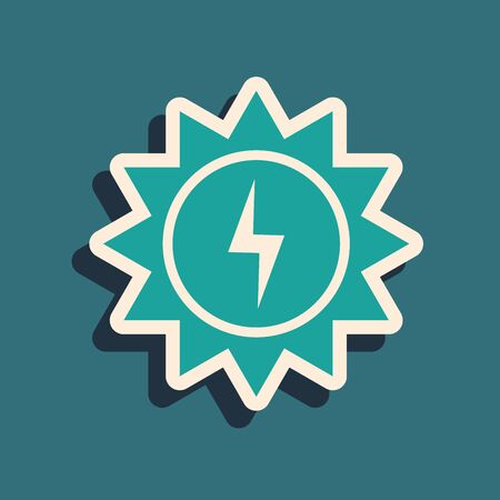 Green Solar energy panel icon isolated on blue background. Sun with lightning symbol. Long shadow style. Vector Illustration