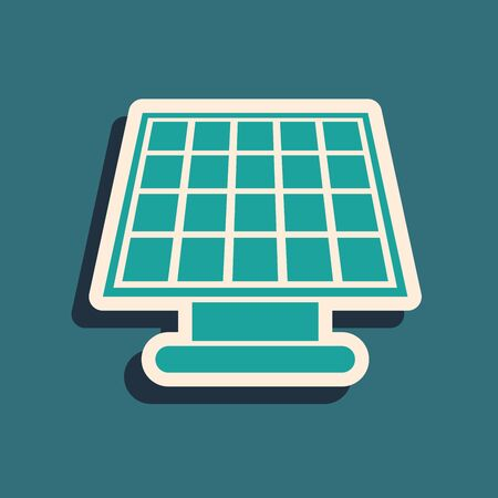 Green Solar energy panel icon isolated on blue background. Long shadow style. Vector Illustration