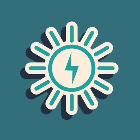 Green Solar energy panel line icon isolated on blue background. Long shadow style. Vector Illustration
