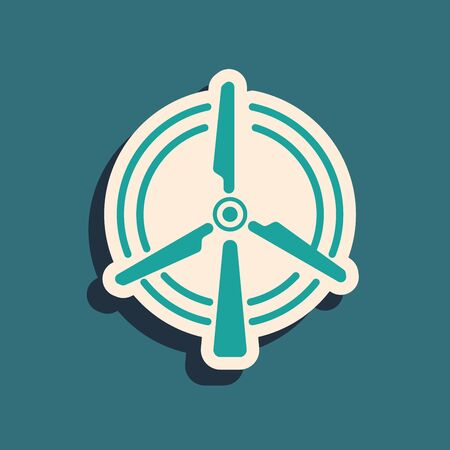 Green Rotating wind turbine icon isolated on blue background. Wind generator sign. Windmill for electric power production. Long shadow style. Vector Illustration
