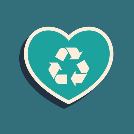 Green Eco friendly heart icon isolated on blue background. Heart eco recycle nature bio. Environmental concept. Long shadow style. Vector Illustration