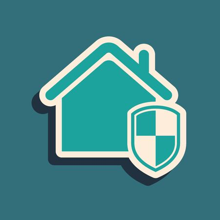 Green House under protection icon isolated on blue background. Home and shield. Protection, safety, security, protect, defense concept. Long shadow style. Vector Illustration
