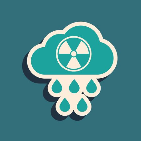Green Acid rain and radioactive cloud icon isolated on blue background. Effects of toxic air pollution on the environment. Long shadow style. Vector Illustration Иллюстрация