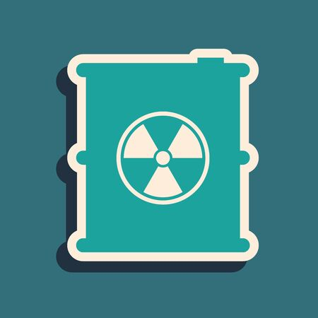 Green Radioactive waste in barrel icon isolated on blue background. Toxic refuse keg. Radioactive garbage emissions, environmental pollution. Long shadow style. Vector Illustration