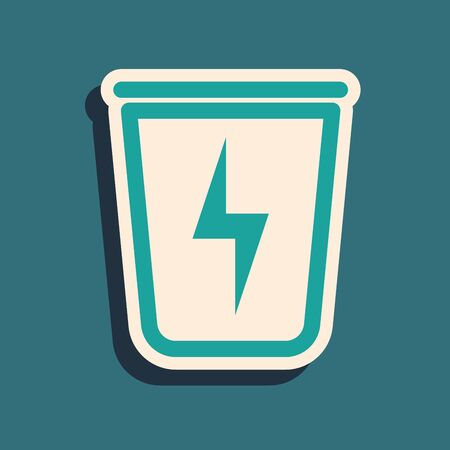Green Lightning with trash can icon isolated on blue background. Waste to energy. Garbage bin sign. Recycle basket sign. Long shadow style. Vector Illustration