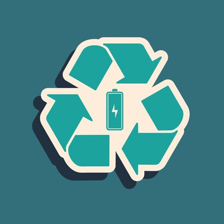 Green Battery with recycle symbol line icon isolated on blue background. Battery with recycling symbol - renewable energy concept. Long shadow style. Vector Illustration