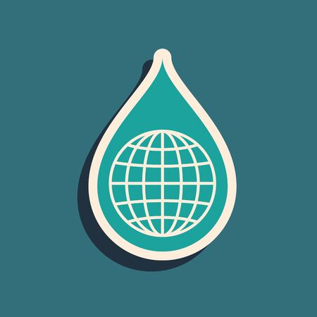 Green Earth planet in water drop icon isolated on blue background. World globe and water drop. Saving water and world environmental protection. Long shadow style. Vector Illustration Фото со стока - 130787612