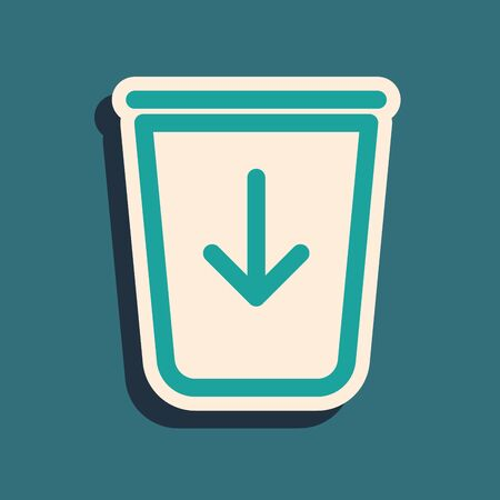 Green Send to the trash line icon isolated on blue background. Long shadow style. Vector Illustration Çizim
