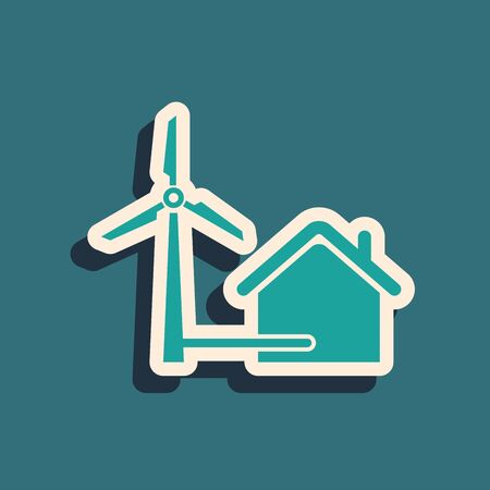 Green House with wind turbine for electric energy generation icon isolated on blue background. Eco-friendly house. Environmental Protection. Long shadow style. Vector Illustration