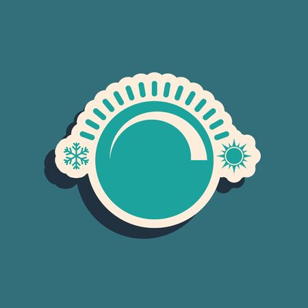 Green Thermostat icon isolated on blue background. Temperature control. Long shadow style. Vector Illustration  イラスト・ベクター素材