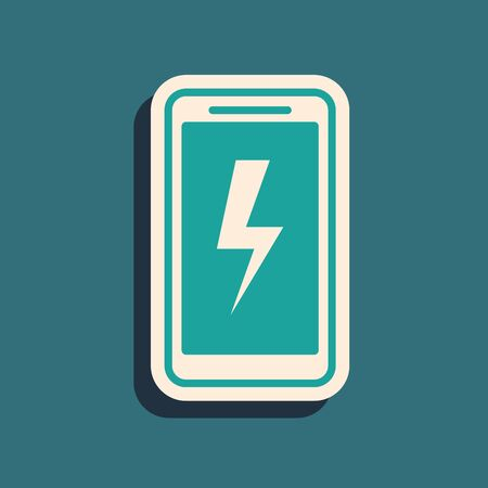 Green Smartphone charging battery icon isolated on blue background. Phone with a low battery charge. Long shadow style. Vector Illustration Foto de archivo - 130787629