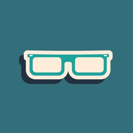 Green Glasses icon isolated on blue background. Eyeglass frame symbol. Long shadow style. Vector Illustration