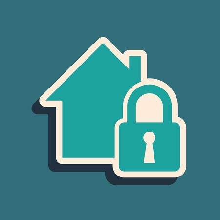 Green House under protection icon isolated on blue background. Home and lock. Protection, safety, security, protect, defense concept. Long shadow style. Vector Illustration