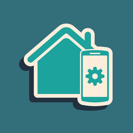Green Smart home - remote control system icon isolated on blue background. Long shadow style. Vector Illustration Foto de archivo - 130787667