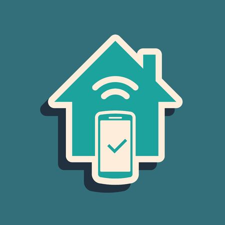 Green Smart home - remote control system icon isolated on blue background. Long shadow style. Vector Illustration Foto de archivo - 130787669