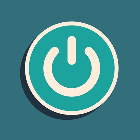 Green Power button icon isolated on blue background. Start sign. Long shadow style. Vector Illustration